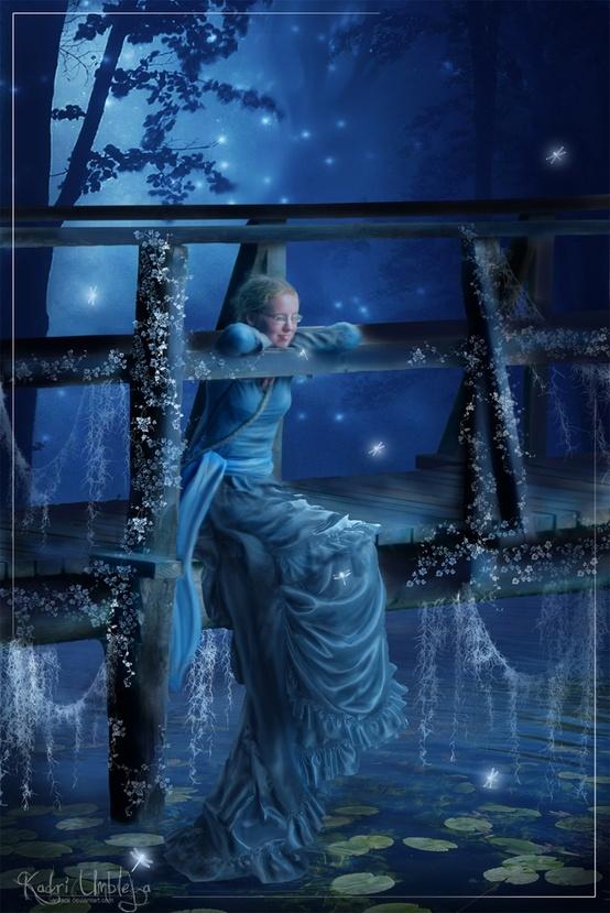 fireflies surround her and whisper crickets speak...........................