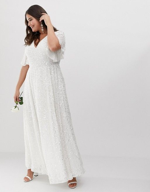 7f22eed9b3a EDITION Curve flutter sleeve sequin maxi wedding dress in 2019 ...