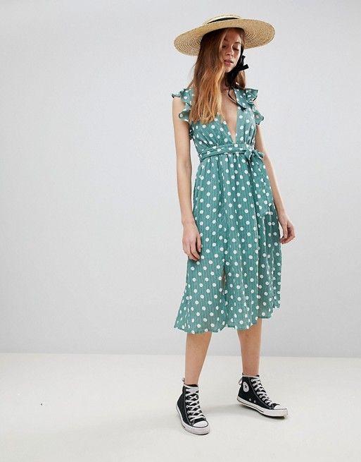 20467e4532a9b Glamorous Sleeveless Midi Dress With Flutter Sleeves In Polka Dot