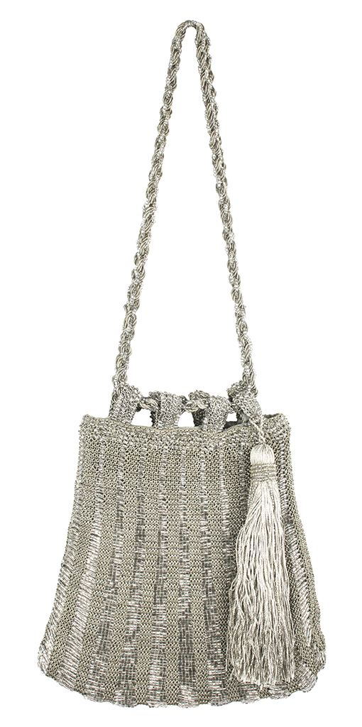 This Crocheted Tassel Bag comes in silver or ivory!