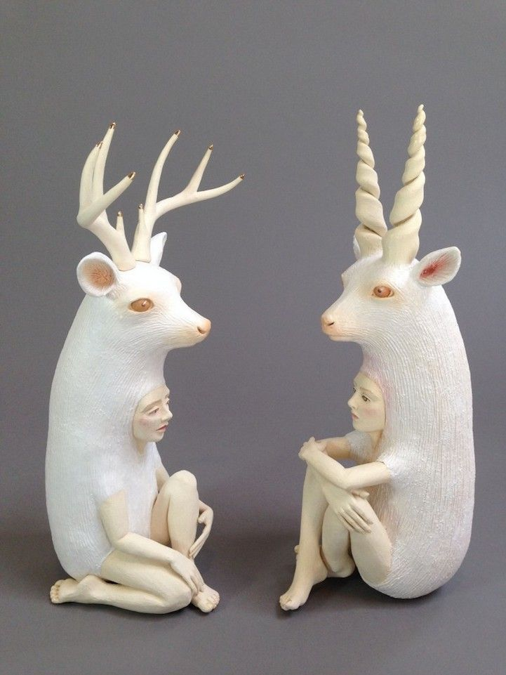 Human animal hybrid sculpture. Oakland-based artist Crystal Morey is deeply passionate about the earth and the effect we as humans are having on it. Her ceramic sculptures educate their audiences on the impact of globalization and urbanization - fine art ceramics