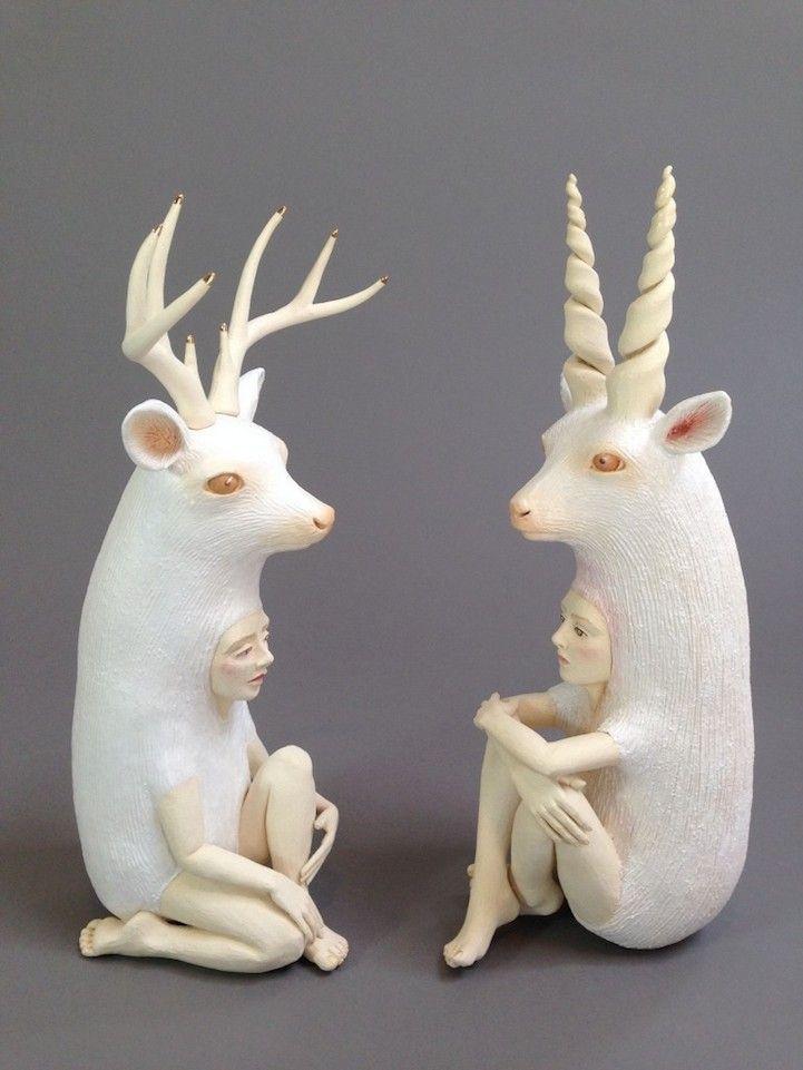 Striking Ceramic Sculptures of Human-Animal Hybrids Explore Relationship Between People and Nature - My Modern Met