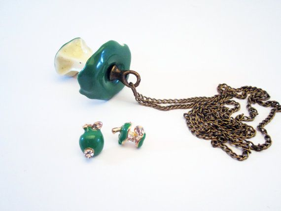 Green  Core Apple Necklace & Earrings Set by NewUsedVintage, $20.00