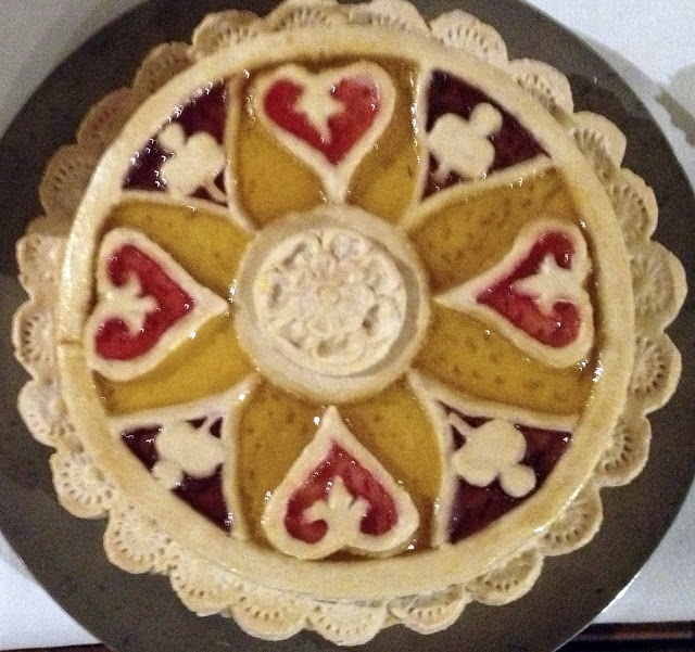 A 'cut laid tart' made from a design published in Robert May's The Accomplisht Cook (London: 1660).