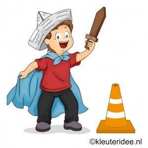 Gymles thema ridders voor kleuters, kijk voor meer leuke gymlessen op kleuteridee.nl