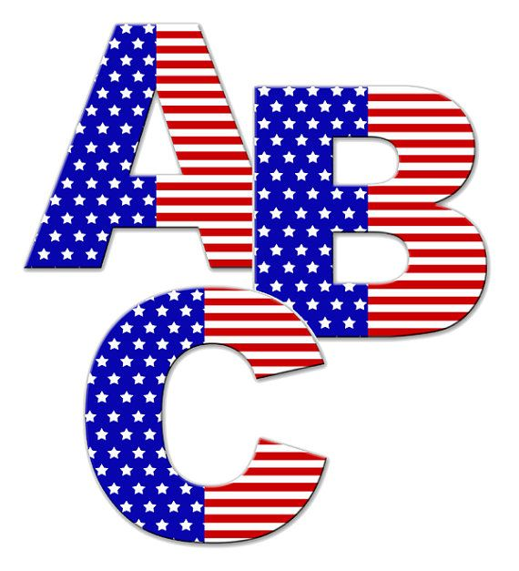 AMERICAN FLAG LETTER Wall Decal Personalized Name Alphabet ...