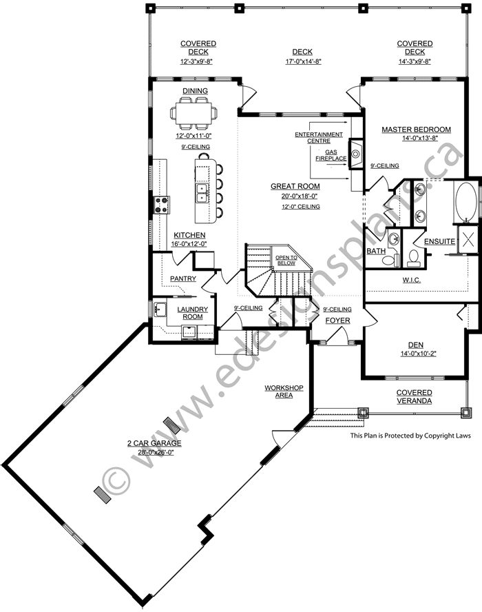Floor Plans With Walkout Basement Part - 30: 1697 Sq Ft Bungalow House Plan With A Walk Out Basement, Open Floor Plan  And Angled 2 Car Garage. A Great Acreage House Plan.