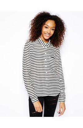 Monki Stripe Print Shirt | Stylista.dk