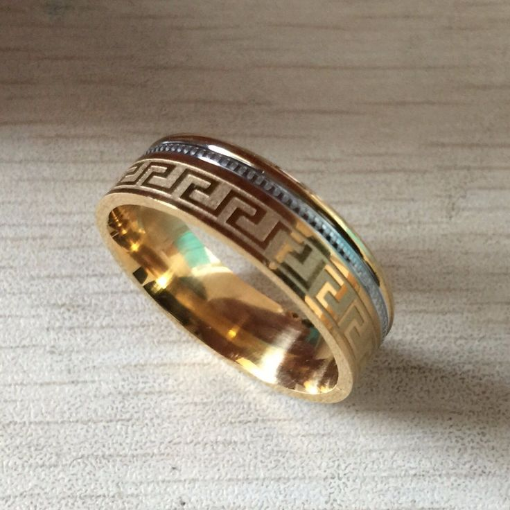 Popular High quality large men women gold sliver Ion plating genuine pure titanium mens fashion Greek Key party rings Read more at the image link