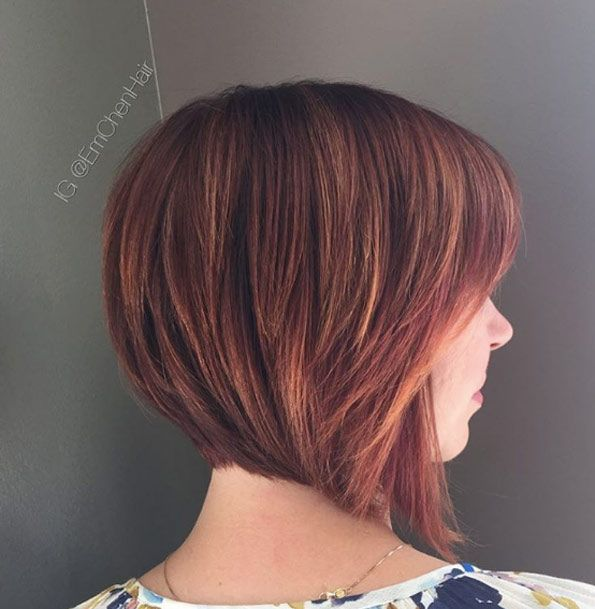 Sunset red bob by Emily Chen