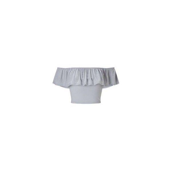 Miss Selfridge Nude Slinky Bardot Crop Top ❤ liked on Polyvore featuring tops, flutter crop top, cut-out crop tops, frill top, frill crop top and ruffle crop top