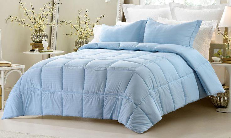 CalKing 3PC Oversize Reversible Comforter Set Solid Emboss Striped Shams Bedding http://www.ebay.com/itm/-/262492991906?