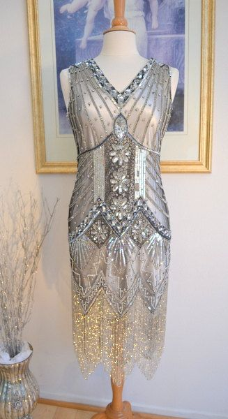 IN StOCK! 1920s Style Silver Beaded STARLIGHT Flapper Dress- LARGE                                                                                                                                                                                 More