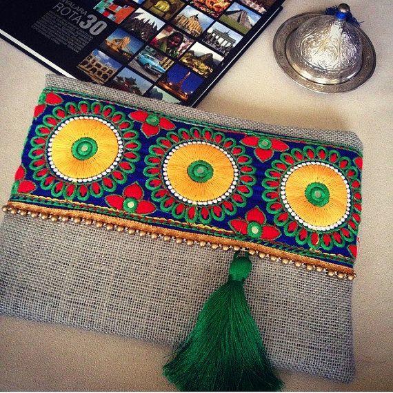 Embroided bag, clutch purse, womens bag, bohemian clutch, boho style