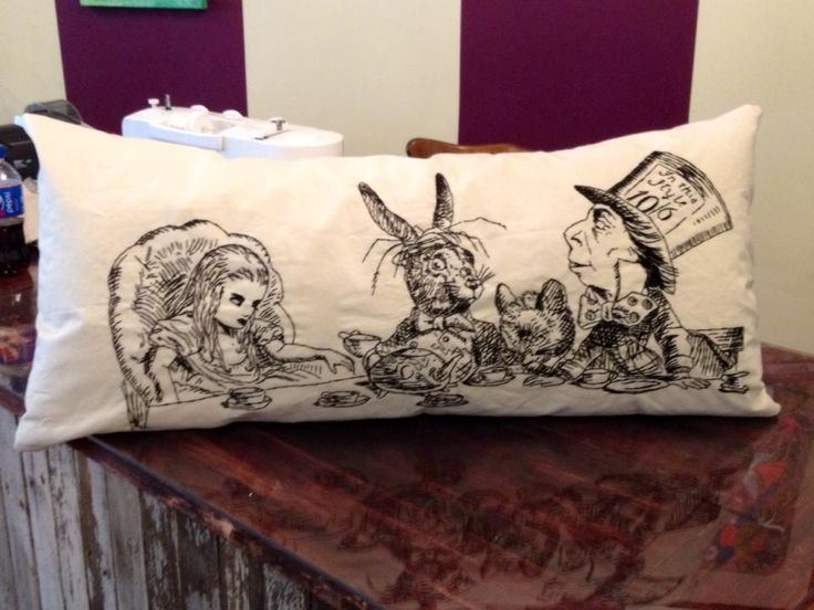 Hand made and stitched Alice in Wonderland pillow.