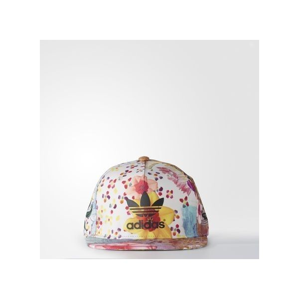 adidas Snap-Back Hat ($27) ❤ liked on Polyvore featuring accessories, hats, red, snap back hats, red hat, red cap, snapback cap and floral cap