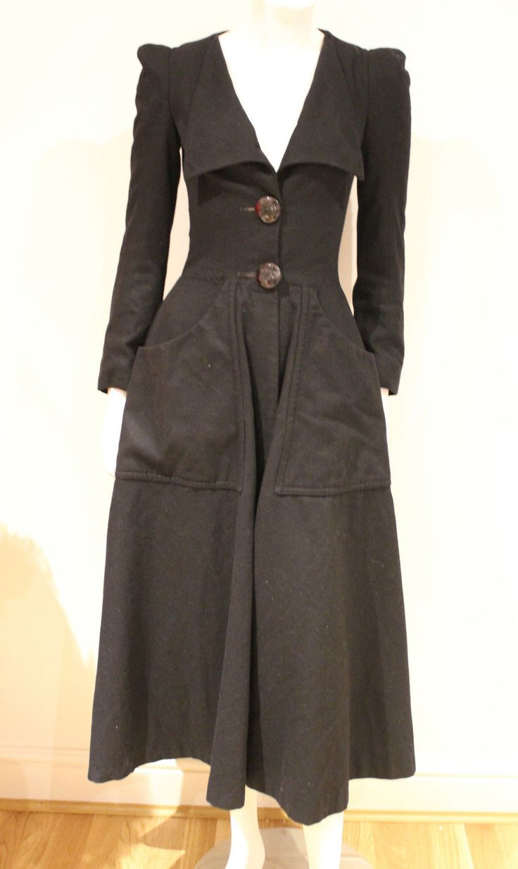 Vintage 70s Original Biba Fit N Flare Black Wool Coat Art Deco Buttons 6 XS | eBay