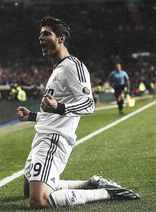 Real Madrid's Álvaro Morata celebrates his goal during the match against Rayo Vallecano at Santiago Bernabeu stadium in Madrid February 17, 2013.
