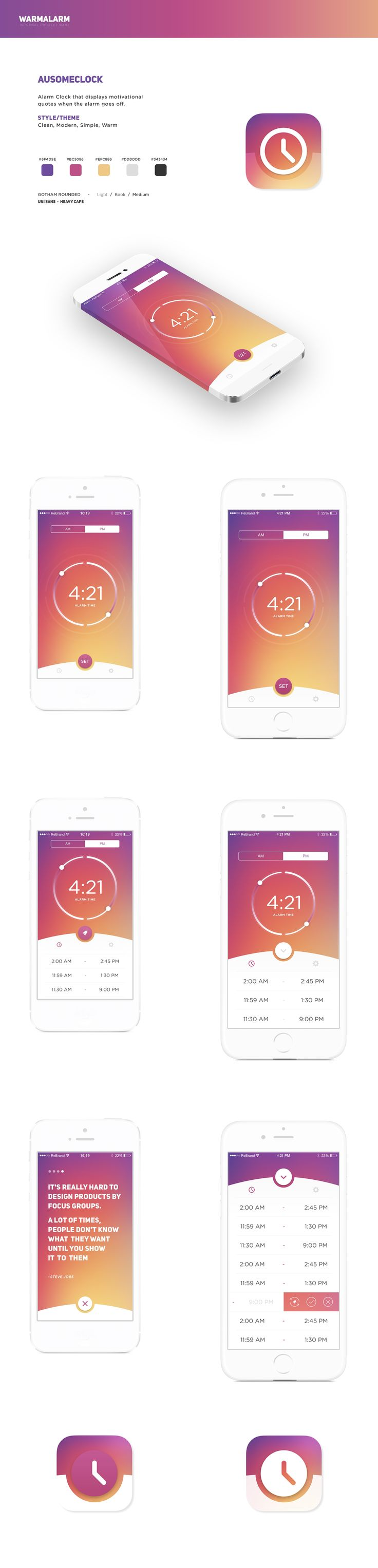 Design #54 di Re Brand | Create a Simple, Clean, Modern, Warm Alarm Clock iOS App