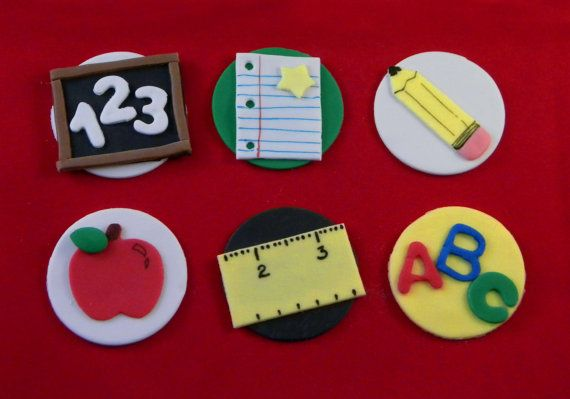School Teacher Themed Fondant Cupcake Toppers by SweetTopShop