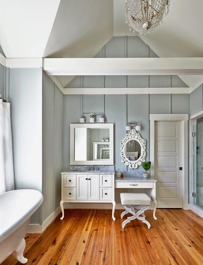 Banheiro decorado com cores frias e estilo romântico | Eu Decoro