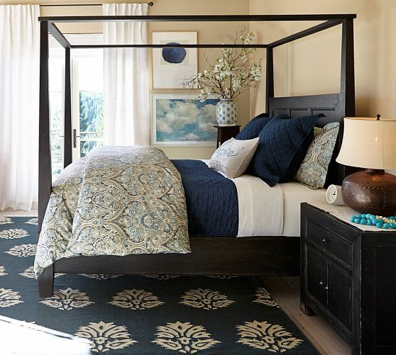 "Mackenna Paisley Duvet Cover  Sham - Blue | Pottery Barn; ""Midnight"" blue linen quilt and shams are so rich as is the area rug."