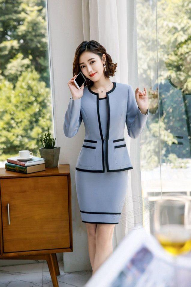 2018 Business Women Pencil Dress Suits winter autumn Skyblue Blazer  Pencil dres…