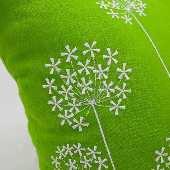 Queen Ann Pillow Cover Green Linen White Queen Ann