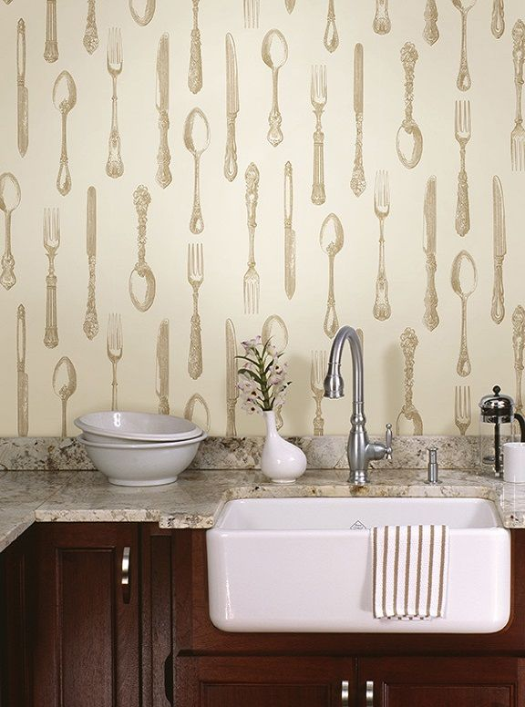 A Novel And Remarkable Kitchen Decor Idea With An Heirloom Silver Cutlery Wallpaper  Design And A Fabulous Farmhouse Sink Bronze Vintage Silverware   Price ...