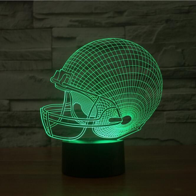 Rugby Football Cap Acrylic Night Light 3d Led Touch Switch Colorful Gradient Illusion Table Lamp Home Decor Usb Lamp Dropship 3d Led Lamp 3d Night Light Night Light Lamp