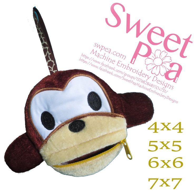 Monkey zipper purse 4x4 5x5 6x6 7x7 in the hoop machine embroidery design