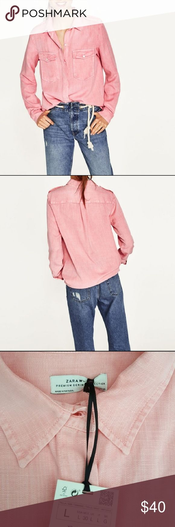 Zara military style shirt Long sleeve shirt with plackets on shoulders and frayed hem. Large bust 20 inches Length 28.5 inches Medium bust 18.5 length 28 inches Zara Tops Button Down Shirts