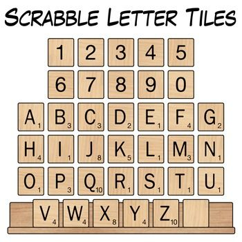 Scrabble letter tiles clip art digital classroom clipart for Scrabble template printable