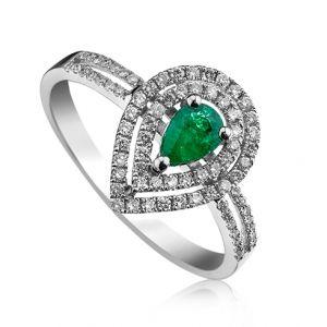 Inel cu smarald si diamante C388