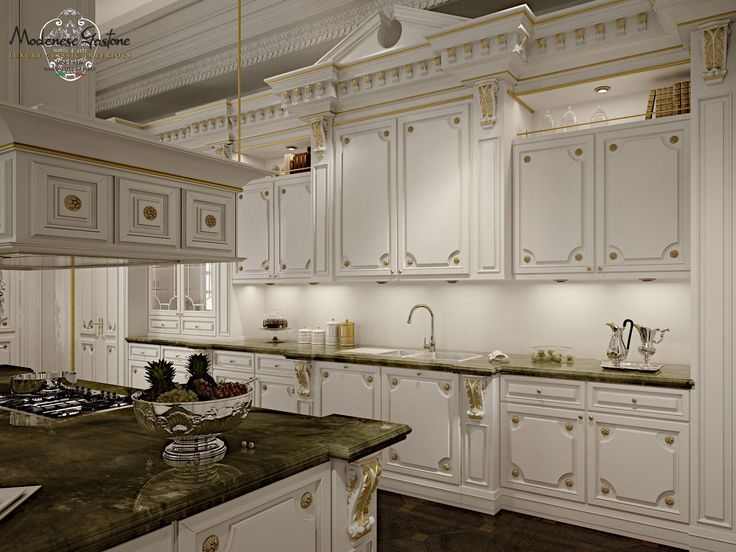 Lacquered custom solid wood kitchen with island ROMANTICA - IVORY AND GOLD by Modenese Gastone group