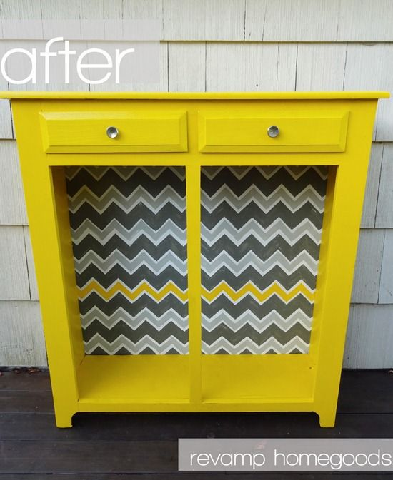 DIY Yellow Chevron Cabinet - Really cool before and after!