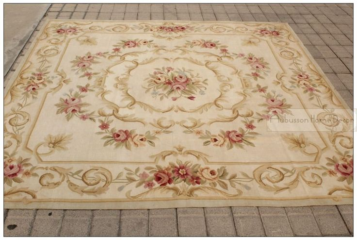 7X7 SQUARE ANTIQUE FRENCH DECOR Aubusson Area Rug PASTEL COUNTRY HOME   Free ship! NEW French Shabby Rose Chic-in Rug from Home & Garden on ...