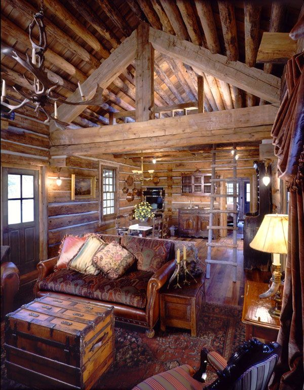 Great room or family room of cabin, cottage or lodge