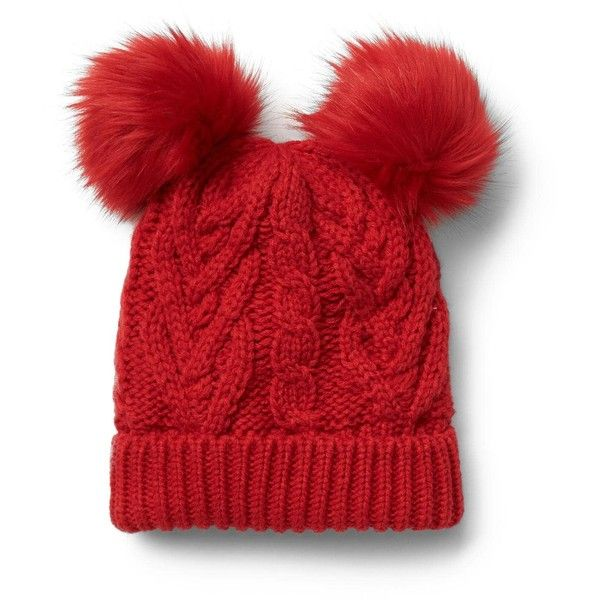 Pom-pom cable knit beanie (49 PEN) ❤ liked on Polyvore featuring accessories, hats, cable knit beanie, cable knit pom pom beanie, cable beanie hat, cable hat and cable knit hat
