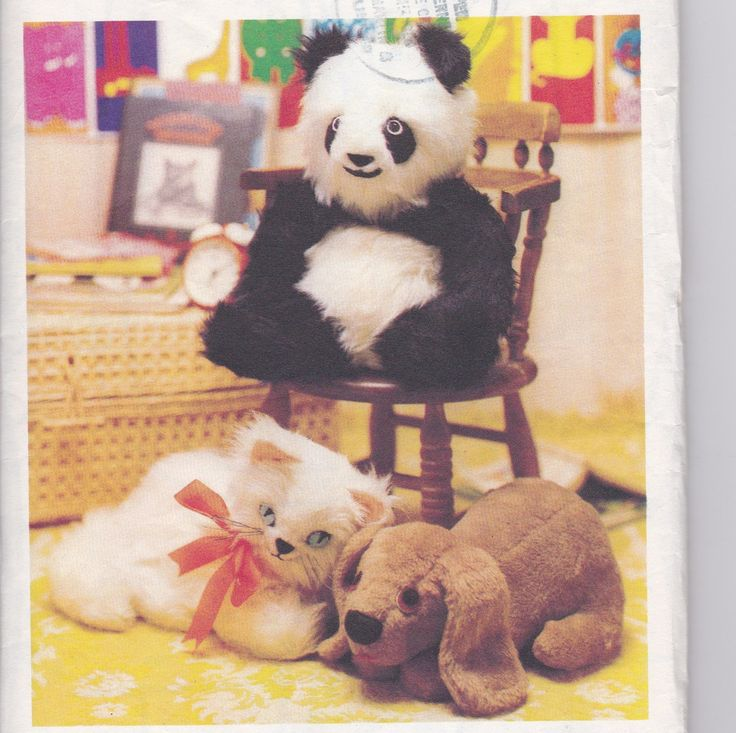 Soft Toy Sewing Pattern Panda, Cat and Dog Start Now for Christmas Gifts for Children Style 1221 by SuesUpcyclednVintage on…