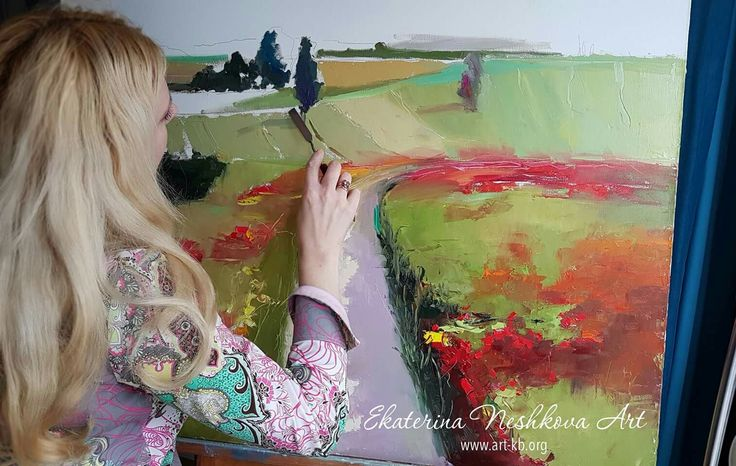 field, oilpainting, painting, painter, poppy, field of poppies