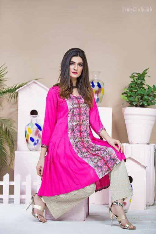 Shocking pink short frock umbrella style latest design by Zahra Ahmad Eid dresses for girls in Pakistan