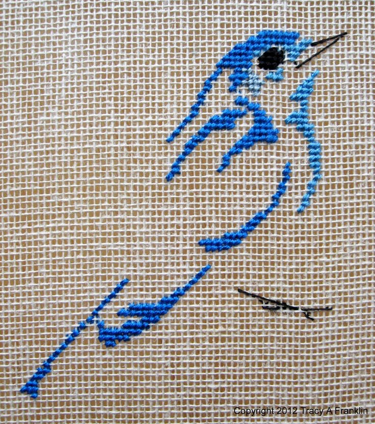 Tracy Franklin'e embroidery.Design was taken from Les oiseaus de Marie-Thérèse Saint-Aubin. Ttt