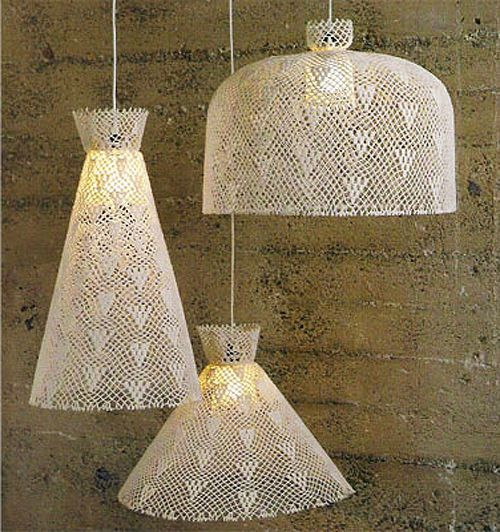 crocheted lampshades