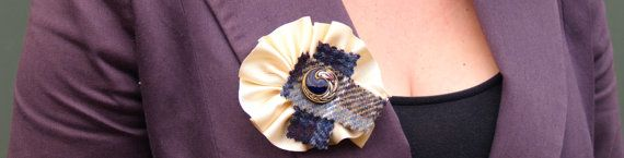 Cream Ribbon Brooch with Blue Tartan Harris Tweed and a Vintage Enamel Button