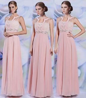 Elegantes rosa A Linie Ärmellos Langes Blumen Chiffon Abendkleider [XHD30928]- € 214,02 - Persunshop.de