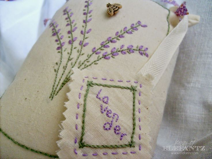 Lavender Fields Forever!  Sweet little pillow to stitch and fill with lavender flowers, or use as a pincushion.  ...a Jenny of Elefantz design...
