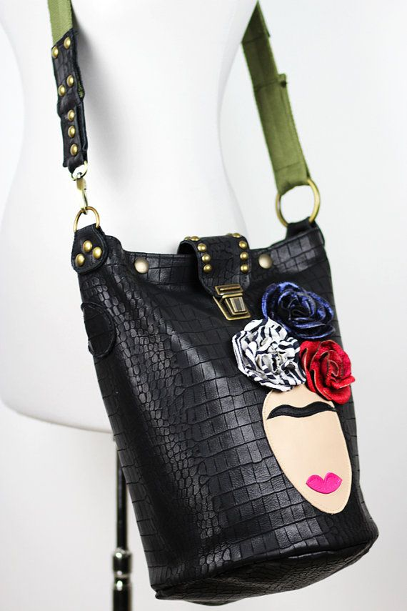 Frida Leather Tote Bag/Black Leather Crossbody by NeroliHandbags