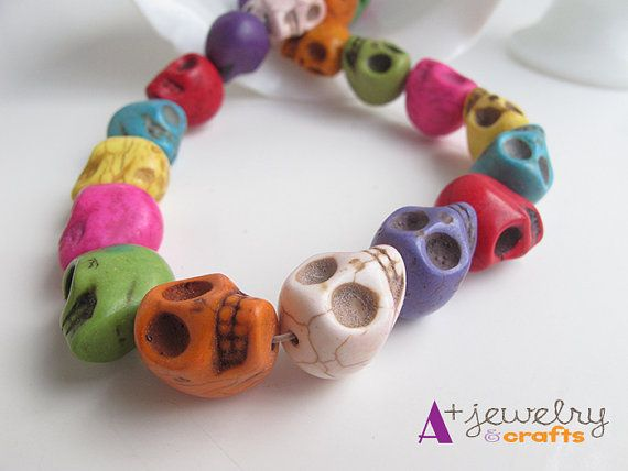 Skull beads skulls skeletons colorful beads by APlusJewelryCrafts $6.85 Skull beads, skulls, skeletons, colorful beads, pendant, green, blue, pink, yellow, fun, rainbow