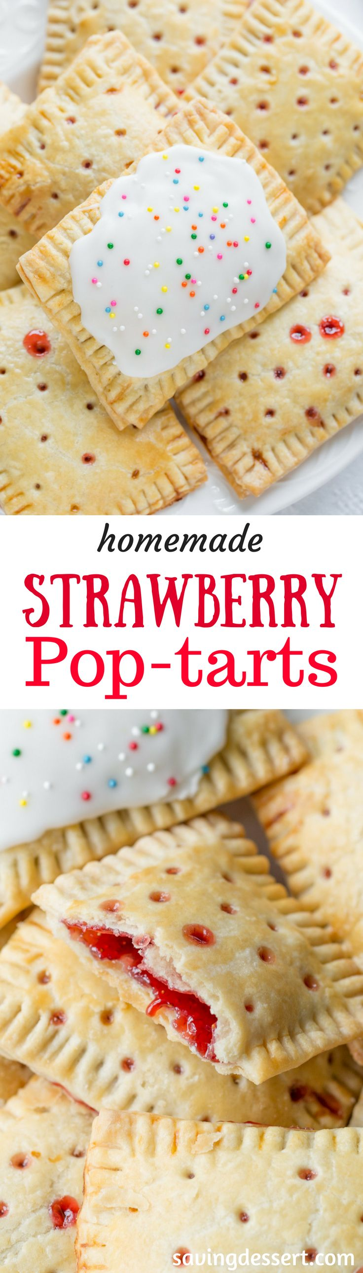 Homemade Strawberry Pop-tarts - a flaky hand pie filled with strawberry jam.  www.savingdessert.com